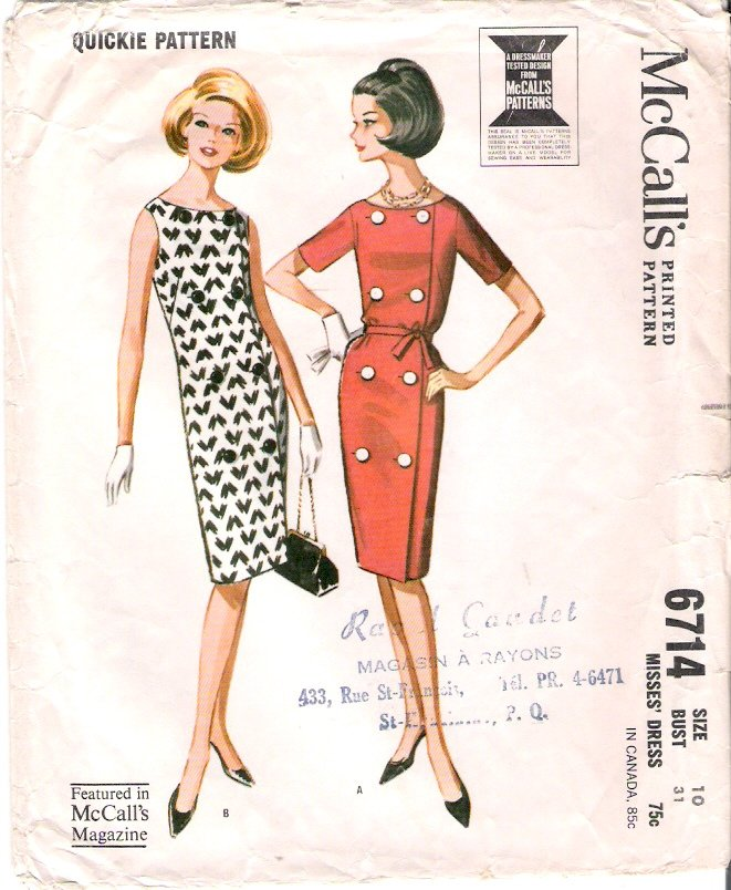 Vintage Pattern McCall's 6714 Misses Dress 60s Size 10 B31
