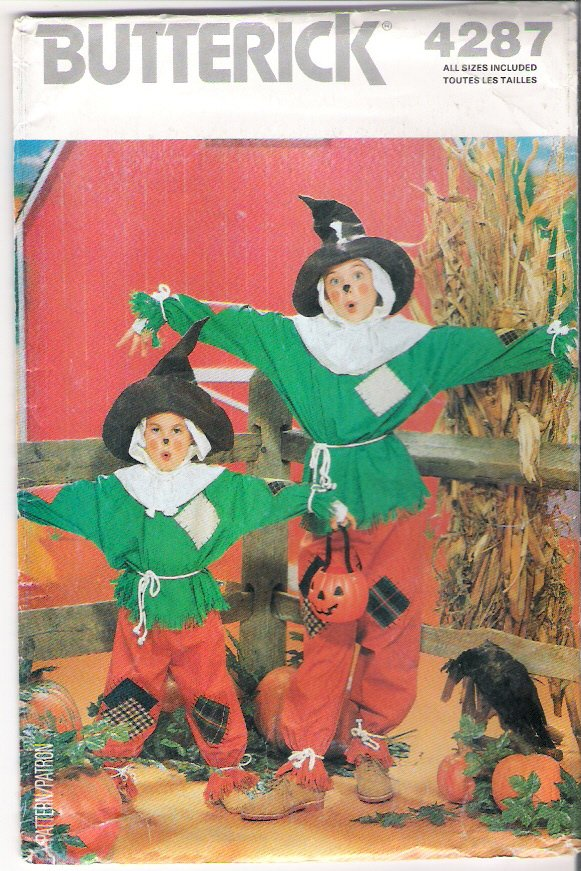 Costume Pattern Butterick 4287 Scarecrow Childrens, Girls, Boys 80s All Sizes 4 - 14 UNCUT