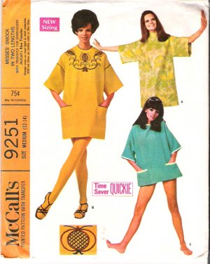 Vintage Pattern McCall's 9251 Misses Smock with Transfer 60s Size Medium B34-36