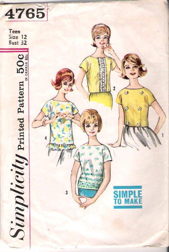Vintage Pattern Simplicity 4765 Blouse 60s Size Teen 12 B 32