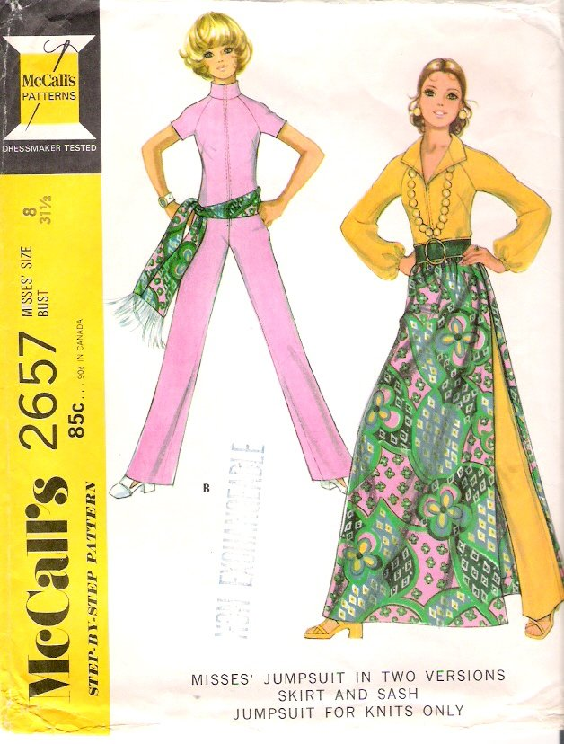 Vintage Pattern McCall's 2657 Jumpsuit, Skirt and Sash 70s Size 8 B31.5