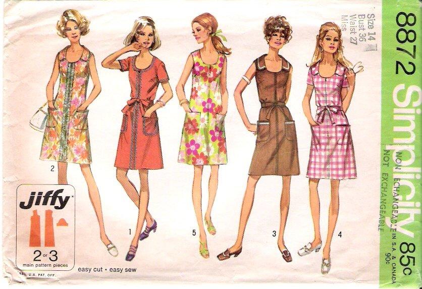 Vintage Pattern Simplicity 8872 Misses Dress Variation 70s Size 14 B36