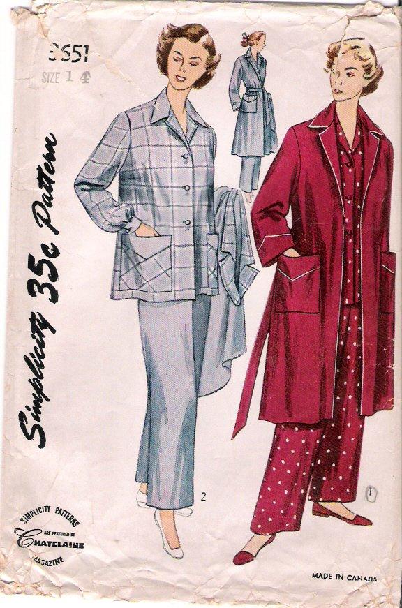 Vintage Pattern Simplicity 3651 Pajama and Robe 50s Size 14 B32