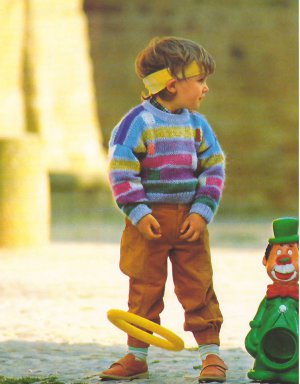 Knit Pattern Boy Pullover No 1 Size 4 in 2 Languages Printable on PDF 80s