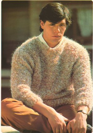 Knit Pattern Men Pullover No 2 Breast 40 or European 50 in 2 Languages Printable on PDF 80s