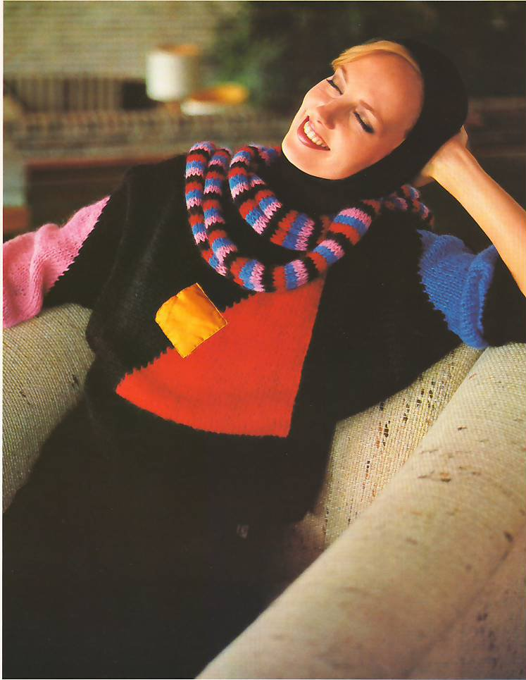 Knit Pattern Women Pullover No 3 Size 14-16 or European 44 in 2 Languages Printable on PDF 80s