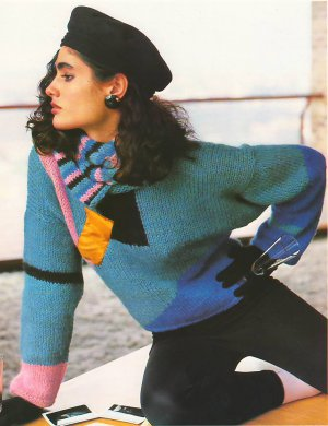 Knit Pattern Women Pullover No 1 Size 14-16 or European 44 in 2 Languages Printable on PDF 80s