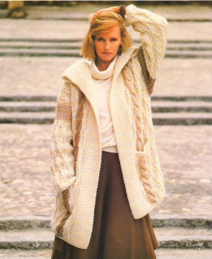 Knit Pattern Women Coat No 1 Size 16-18 or European 46 in 2 Languages Printable on PDF 80s