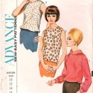 Vintage Pattern Advance 3492 Misses' Blouse 60s Size 12 B32 Uncut