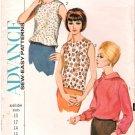 Vintage Pattern Advance 3492 Misses' Blouse 60s Size 12 B32 Uncut