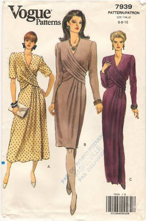 Vintage Pattern Vogue 7939 Dress in Three Lengths with Flare or Slim Skirts 90s Size 6-10