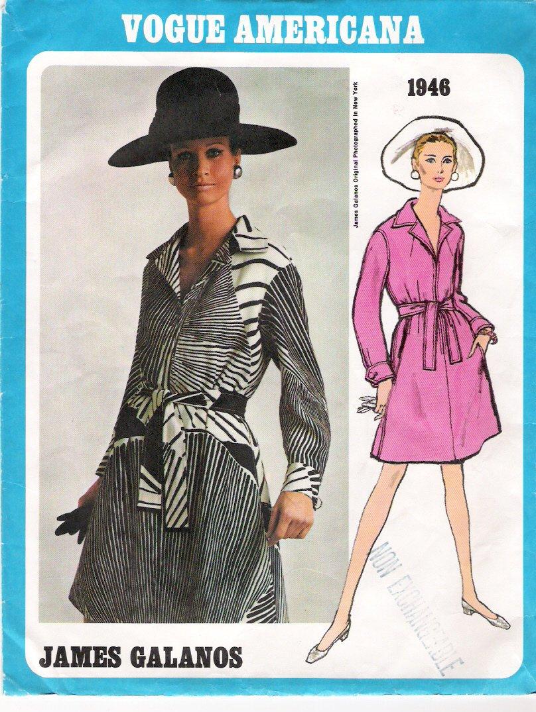 Vintage Pattern Vogue 1946 Americana James Galanos 60s  Dress Size 12 B34