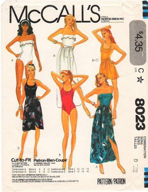 Vintage Pattern McCall's 8023 Bathing Suit and Skirt 80s Size 12-16