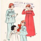 Vintage Pattern Butterick 6199 Girls' Nightgown and Two-Piece Pajamas 50s Size 2
