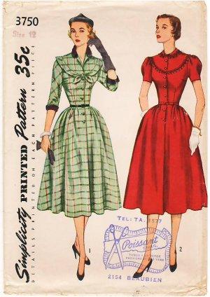 Vintage Pattern Simplicity 3750 Misses' Dress 50s Size 12 B30