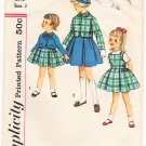 Vintage Pattern Simplicity 3134 Child's Dress or Jumper and Jacket 50s Size 2