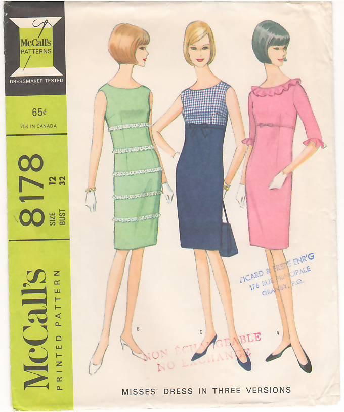 Vintage Pattern McCall's 8178 High Waistline and Sheath Dress 60s Size 12 B32