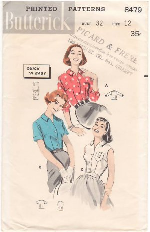 Vintage Pattern Butterick 8479 Tailored Blouses 50s Size 12 B32