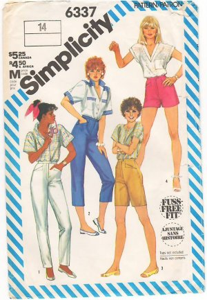Vintage Pattern Simplicity 6337 Slim Fitting Pants in Four Lengths 80s Size14 Waist 28