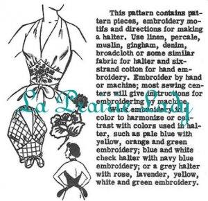 Vintage Pattern Halter Top 50s No 8 Repro on Printable PDF Size M B34-36