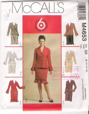Pattern McCalls 4653 Misses Jacket and Skirt Size 8-14 UNCUT