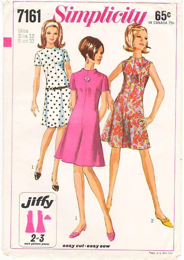 Vintage Pattern Simplicity 7161 Misses' Dress with Raised Neckline 60s Size 12 B32