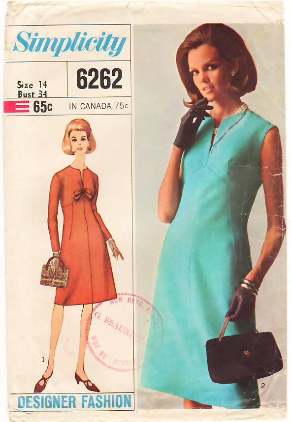 Vintage Pattern Simplicity 6262 Day Dress 60s Size 14 B34