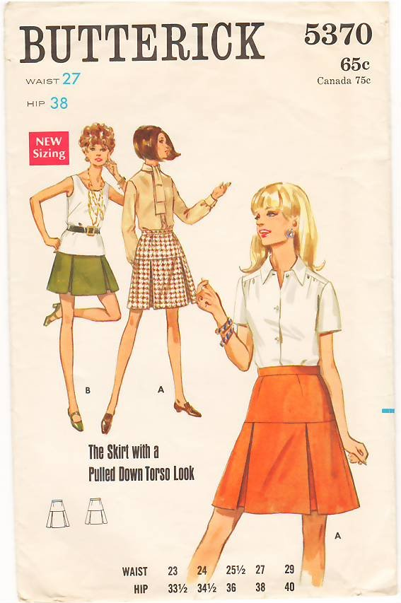 Vintage Pattern Butterick 5370 Skirt with Inverted Pleats 60s Waist 27