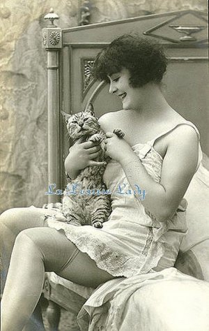 Cross Stitch Pattern Chart on Printable PDF Girl with Cat 1920s