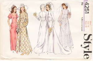 Vintage Pattern Style 4251 Wedding or Bridemaid's Dress 70s Size 16 B38 UNCUT
