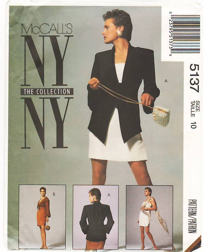 Pattern McCall's 5137 NY Collection Jacket - Bolero Jacket and Dress 90s Size 10 B32.5 UNCUT