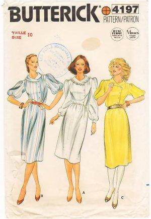 Vintage Pattern Butterick 4197 Dress 80s Size 10 B32.5 UNCUT
