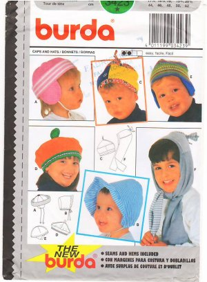 Pattern Burda 3423 Child Caps and Hats - 5 Sizes
