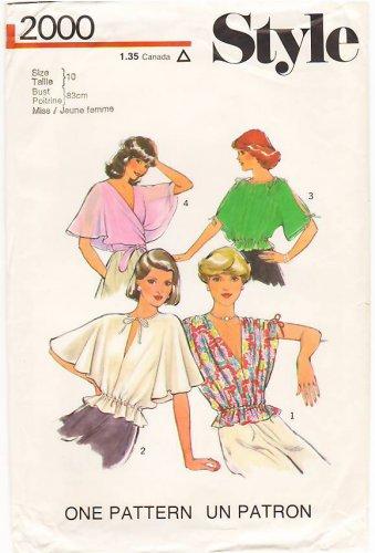 Vintage Pattern Style 2000 Misses' set of tops 70s Size10 B32.5 UNCUT