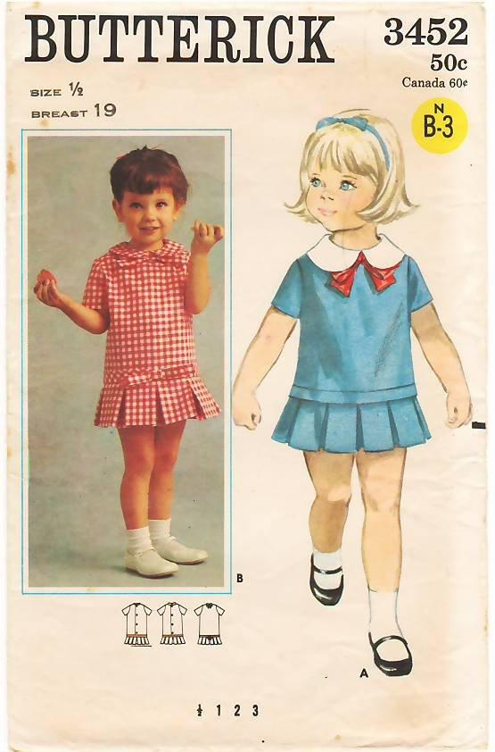 Vintage Pattern Butterick 3452 Girls' Dress 60s Size Half