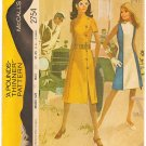 Vintage Pattern McCall's 2754 Misses' Dress 70s Size 12 B34