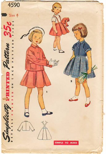 Vintage Pattern Simplicity 4590 Child's Jacket and Skirt 50s Size 6