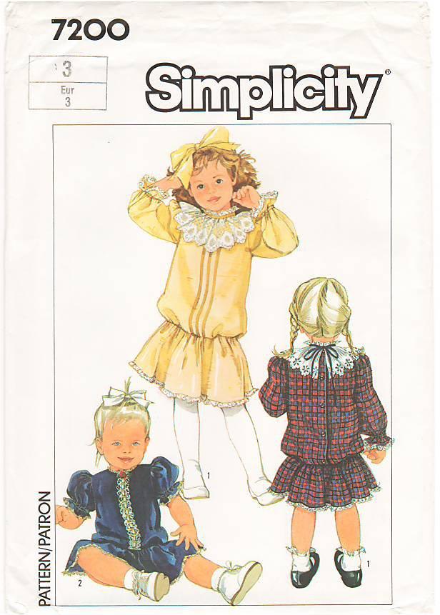 Vintage Patterns Simplicity 7200 Toddlers' Dress 80s Size 3 UNCUT