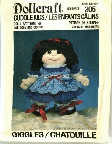 Pattern Dollcraft 305 Cuddle Kids Giggles 80s UNCUT