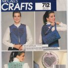 Vintage Pattern McCall's 8864 Cutting-it Up Vest, Bag and Hoop 80s All Size UNCUT