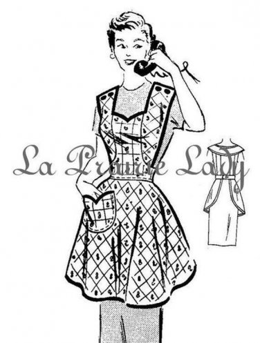 Vintage Full Apron 50's PDF Pattern No 9 Available in M-L-XL