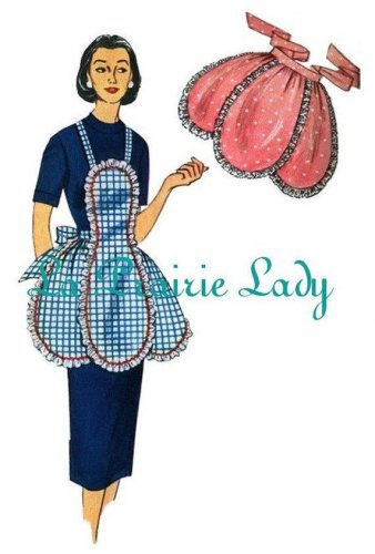 Vintage Full and Half Apron Pattern No 24 50s Repro on PDF Available in Size M - L - X-L