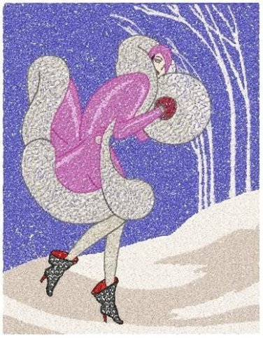 Art Deco Winter Woman Sfumato Technique Machine Embroidery Design