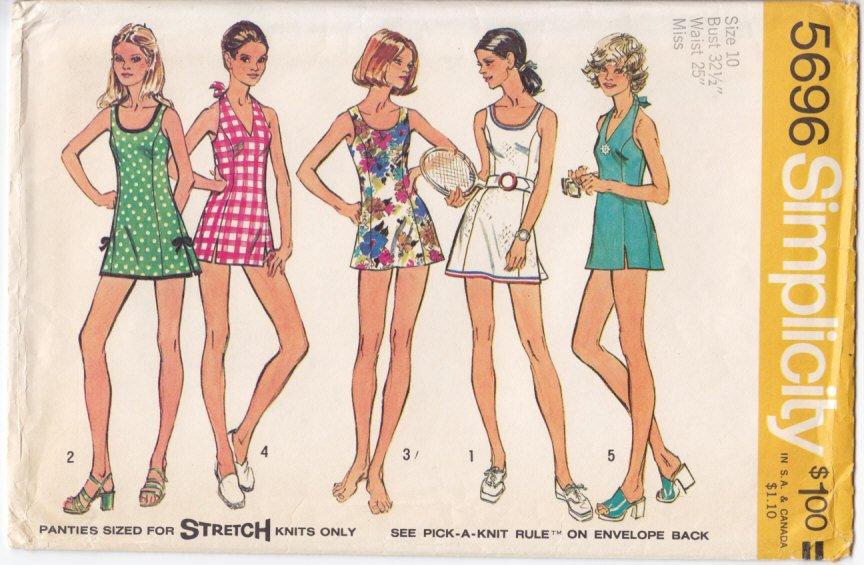 Vintage Pattern Simplicity 5696 Misses' Mini Dress or Bathing Suit 70s Size 10 B32-1/2