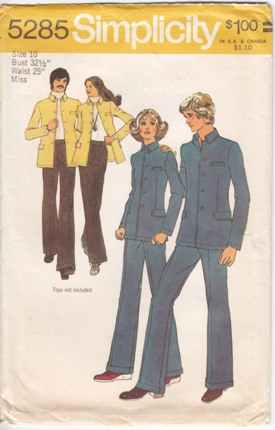 Vintage Pattern Simplicity 5285 Misses' Unlined Jacket and Pants 70s Size 10 B32-1/2