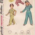 Vintage Pattern Simplicity 3377 Toddler's Two-Piece Pajamas 50s Size 1