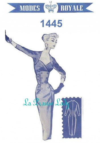Repro Vintage Pattern Modes Royale 1445 Sheath Dress 1950s No 5 on Printable PDF Bust 36