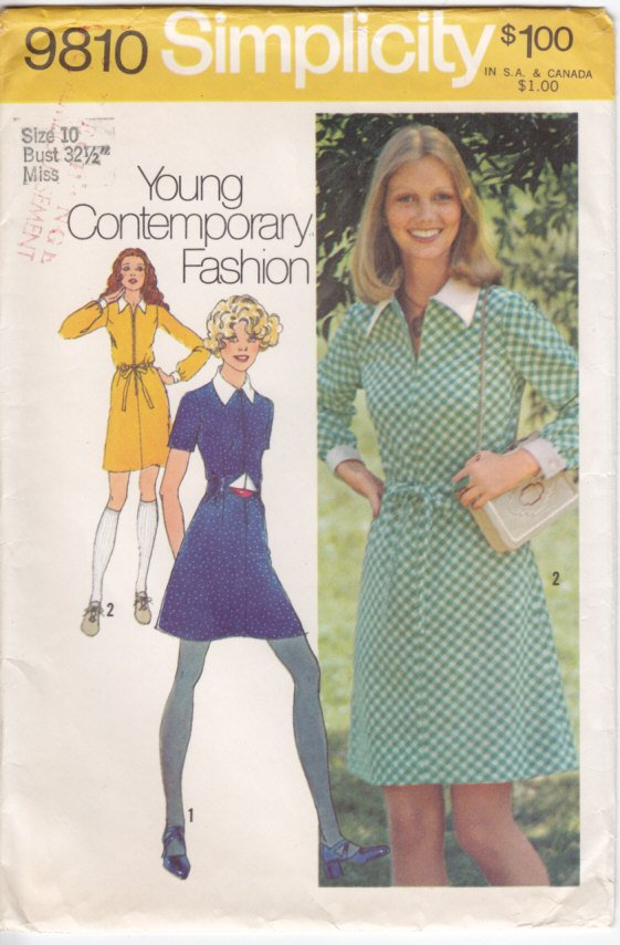 Vintage Pattern Simplicity 9810 Misses' Mini Dress 70s Size 10 B32-1/2