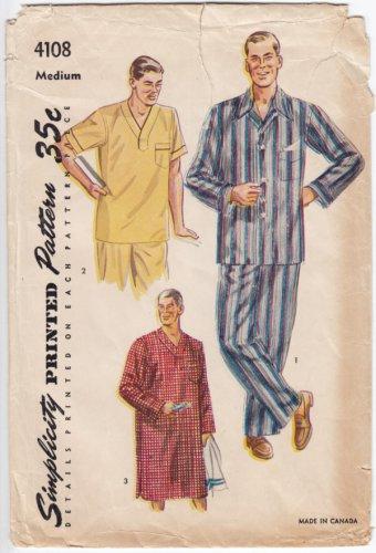 Vintage Pattern Simplicity 4108 Men Pajama 50s Size Med Chest 38-40