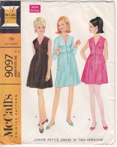 Vintage Pattern McCall's 9097 Junior Petite Dress 60s Size 9 B33